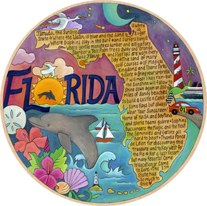 """Fabulously Florida"" Lazy Susan – Our favorite things about Florida fill the state outline on a seascape motif front view"