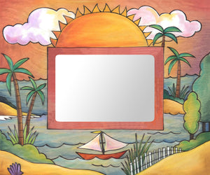"""Float Your Boat"" Picture Frame – Frame with sunny beach and sailboat motif front view"