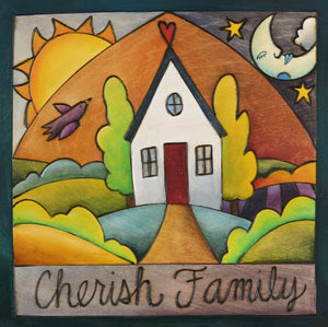 """Fly Home"" Plaque – A vibrant scene of a house with a bird, moon, and sun in the sky above front view"