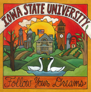 """Follow Your Dreams"" Plaque – Iowa State University plaque with Lake Laverne and campus motif front view"
