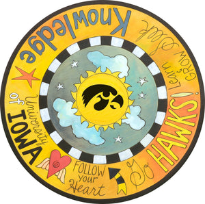"""Follow Your Heart to Iowa City"" Lazy Susan – University of Iowa lazy susan with Herky the Hawk motif front view"