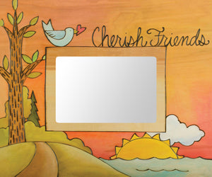 """Friends of a Feather Stick Together"" Picture Frame – ""Cherish Friends"" frame with sunset over the water motif front view"
