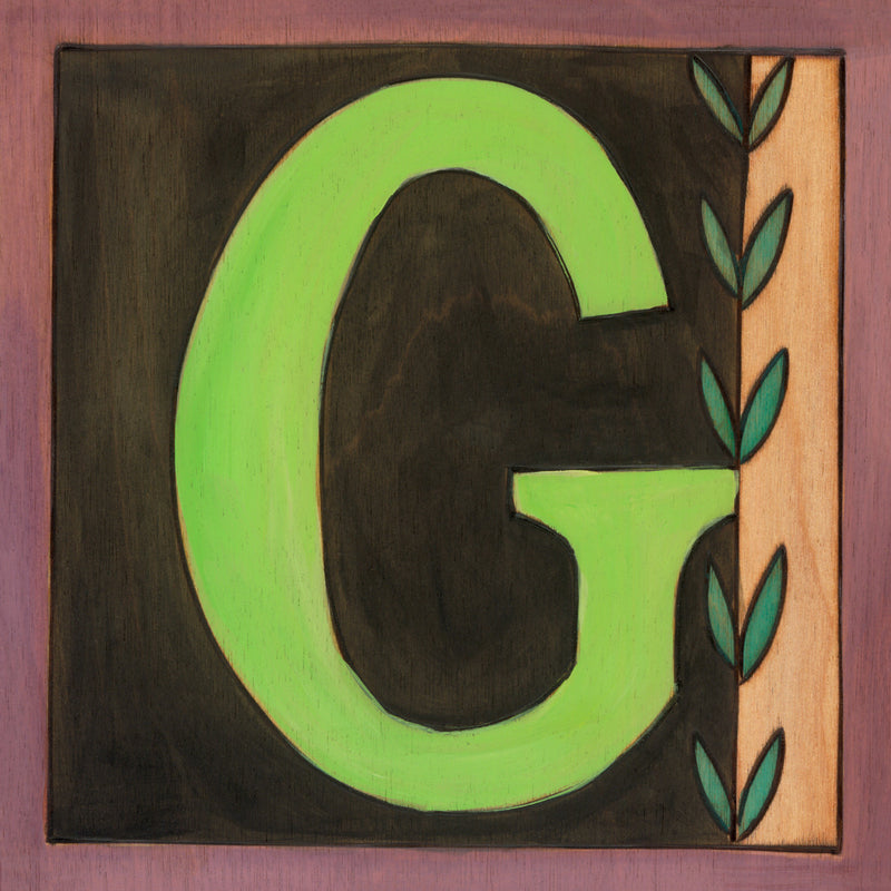 "Sincerely, Sticks printed letter ""G"" plaque, option 1"