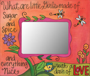 """Girly Girl"" Picture Frame – ""What are Little Girls Made of..."" frame with pink floral motif front view"
