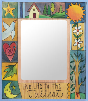 """Grandma Rosser"" Picture Frame – ""Live Life to the Fullest"" frame with sun, moon and home motif front view"