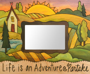 """Grandma's House"" Picture Frame – ""Life is an Adventure, Partake"" frame with home and sunset on the horizon motif front view"