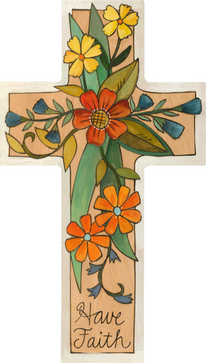 """Grow Faith"" Cross Plaque – ""Have Faith"" cross plaque with bright floral motif front view"