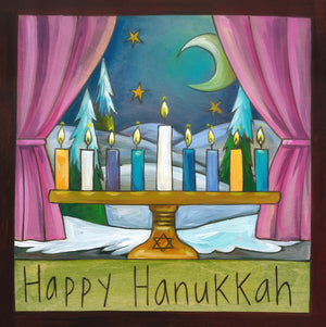 """Happy Hanukkah"" Plaque – This printed plaque features a menorah in a winter-y windowsill front view"