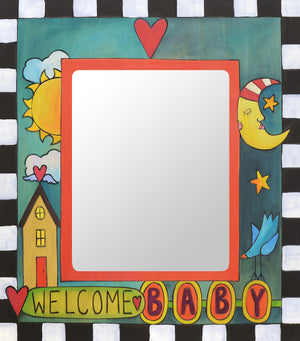 """Hello, Little Person"" Picture Frame – ""Welcome, Baby"" frame with sun, moon and home motif front view"