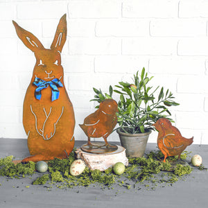 Henry Rabbit Sculpture – Dapper standing rabbit sculpture with a bowtie to celebrate spring season and Easter in a spring display with chick sculptures