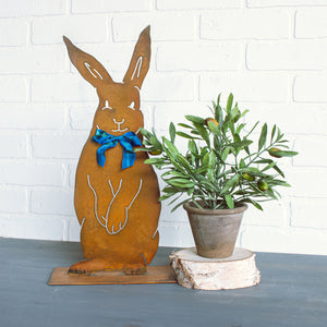 Henry Rabbit Sculpture – Dapper standing rabbit sculpture with a bowtie to celebrate spring season and Easter main view