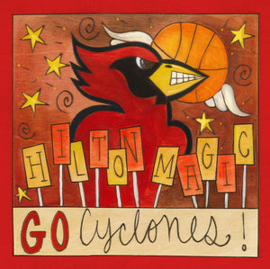 """Hilton Magic"" Plaque – ""Go Cyclones"" plaque with Cy and basketball motif front view"