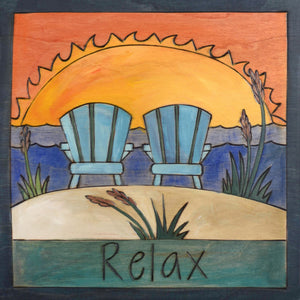"""Holly's Chairs"" Plaque – Two adirondack chairs sit on a beach to watch the sunset front view"