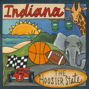 """Hoosier Time"" Plaque – ""The Hoosier State"" plaque honoring Indiana with cherished local scenes front view"