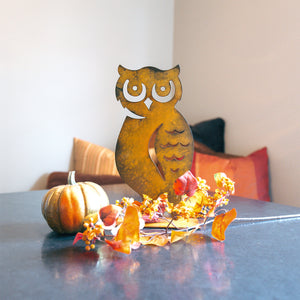 "Horned Owl Sculpture – ""Owl"" you need for charming fall decor is this side profile owl sculpture that pairs great with pumpkin sculptures main view"
