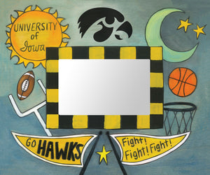 """I-O-W-A!"" Picture Frame – University of Iowa Pride artisan printed picture frame, ""Go Hawks!"" front view"