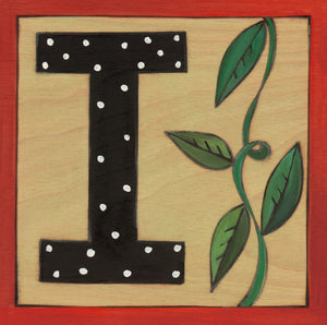 "Sincerely, Sticks ""I"" Alphabet Letter Plaque option 1 with polka dots"
