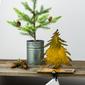 Tree Stocking Holder – Natural, rustic pine tree is the perfect winter touch to hold your family stockings main view