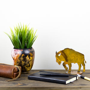 Buffalo Sculpture – Rustic patina bison sculpture adds the perfect touch of western plains to your home's décor displayed on a desk