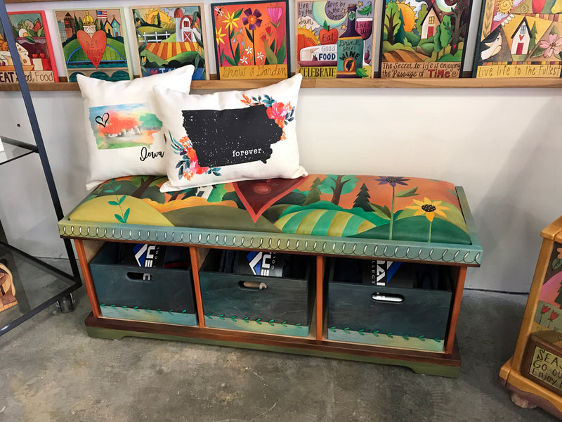 Storage Bench with Boxes, Leather Seat