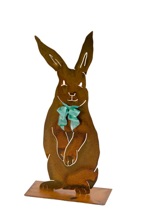 Henry Rabbit Sculpture – Dapper standing rabbit sculpture with a bowtie to celebrate spring season and Easter on a white background