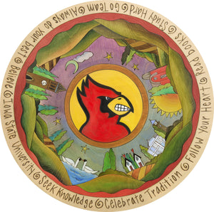 """ISU Country"" Lazy Susan – ""Seek Knowledge/Celebrate Tradition"" lazy susan with Cy and campus motif front view"