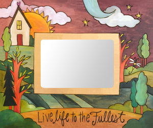 """Iowa Nice"" Picture Frame – ""Live Life to the Fullest"" frame with sun and moon on the horizon with home motif front view"