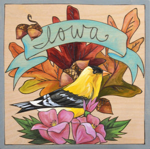 """Iowa Proud"" Plaque – ""Iowa"" plaque with goldfinch motif front view"