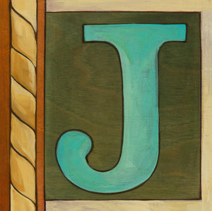 "Sincerely, Sticks ""J"" Alphabet Letter Plaque option 1 with rope edge"