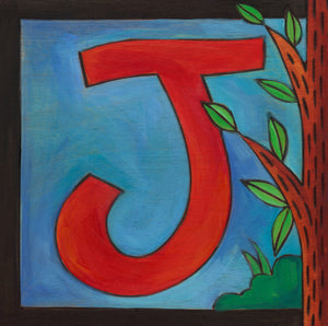 "Sincerely, Sticks ""J"" Alphabet Letter Plaque option 2 with tree of life"