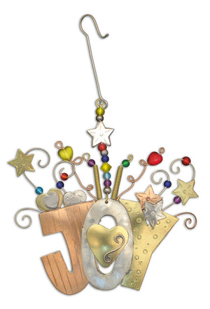 Joy Ornament – JOY spelled out with stamped patterns and hearts and stars curling off the top