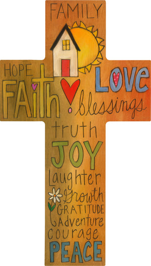"""Joy of Family"" Cross Plaque – Beautiful artisan printed cross with family motifs front view"