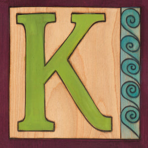 "Sincerely, Sticks ""K"" Alphabet Letter Plaque option 1 with swirl, wave edge"