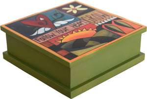 """Keep on Keeping on, Jacob"" Keepsake Box – A crazy quilt design mixing Sticks icons and inspirational phrases main view"