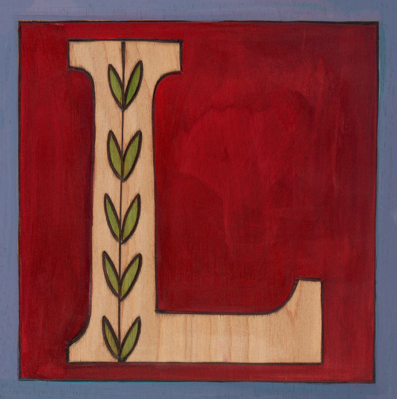 "Sincerely, Sticks ""L"" Alphabet Letter Plaque option 1 with vine"
