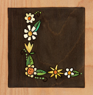 "Sincerely, Sticks ""L"" Alphabet Letter Plaque option 2 written out in flowers"