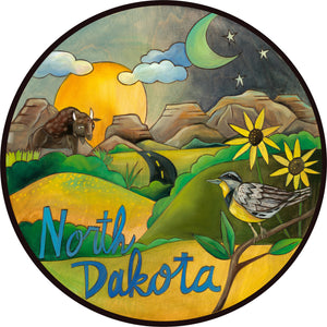 """Natural North Dakota"" Lazy Susan – Bright and beautiful landscape from North Dakota with a wild bison and meadowlark state bird front view"