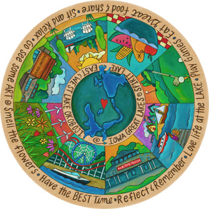 """Lovely Lakes"" Lazy Susan – Pie piece lazy susan design celebrating Iowa's Great Lakes front view"