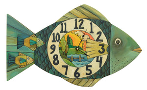 """Lake Time"" Fish Clock – A fresh water fish clock done in beautiful earth tones front view"