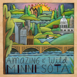 """Land of Lakes and Loons"" Plaque – Beautiful artisan printed plaque honoring ""Amazing & Wild Minnesota"" front view"