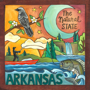 """Land of Opportunity"" Plaque – ""The natural state"" Arkansas plaque with beautiful fishing scene and mockingbird front view"