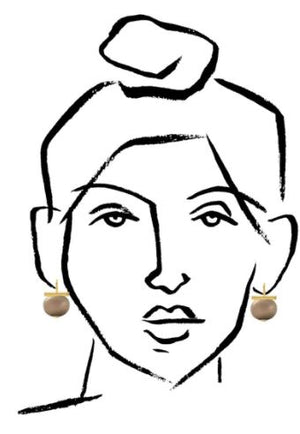 Classic Large Pebble Pearl Earrings in Beetle – Catherine Canino's most popular design is a classic piece for your wardrobe in this green-ish grey color, size reference illustration