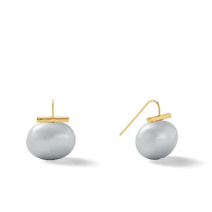 Classic Large Pebble Pearl Earrings in Grey – Catherine Canino's most popular design is a classic piece for your wardrobe in a classic grey