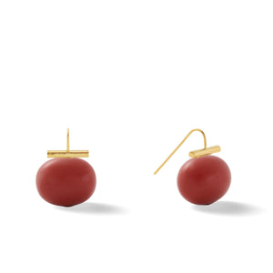 Classic Large Pebble Pearl Earrings in Oxblood Coral – Catherine Canino's most popular design is a classic piece for your wardrobe in a warm red tone