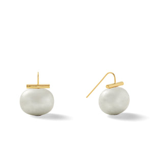 Classic Large Pebble Pearl Earrings in Beetle – Catherine Canino's most popular design is a classic piece for your wardrobe in this green-ish grey color, option for gold/soft grey combo