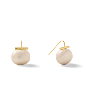 Classic Large Pebble Pearl Earrings in Taupe – Catherine Canino's most popular design is a classic piece for your wardrobe in a lovely grey-brown color