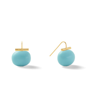 Classic Large Pebble Pearl Earrings in Graphite – Catherine Canino's most popular design is a classic piece for your wardrobe in a striking dark grey/purple tone, option for gold/turquoise combo