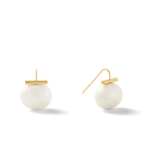 Classic Large Pebble Pearl Earrings in Beetle – Catherine Canino's most popular design is a classic piece for your wardrobe in this green-ish grey color, option for gold/white combo