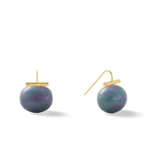 Classic Large Pebble Pearl Earrings in Beetle – Catherine Canino's most popular design is a classic piece for your wardrobe in this green-ish grey color, option for gold/graphite combo