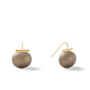 Classic Large Pebble Pearl Earrings in Beetle – Catherine Canino's most popular design is a classic piece for your wardrobe in this green-ish grey color, option for gold/tobacco combo